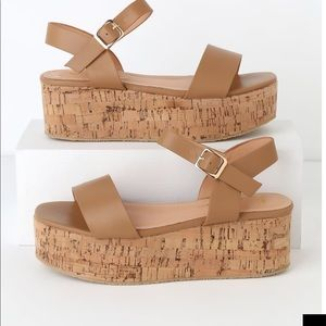 Shoes - Cork wedge platform sandals sz 6.5